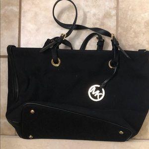 Michael Kors black canvas tote bag